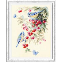Синицы и вишня, набор для вышивания крестом 25х35см мулине хлопок 34цв. канва Aida№14 ЧИ