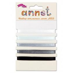 Серый, набор атласных лент ширина 6мм, 5шт по 1м , Annet