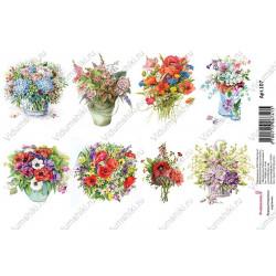 Букеты полевых цветов, водорастворимая бумага с картинками 17х12см