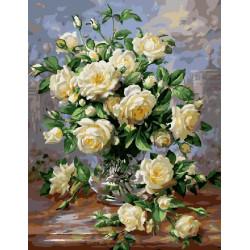 Белые розы, раскраска по номерам на холсте 40х50см 28цв Планета Картин