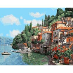 Городок у моря, раскраска по номерам на холсте 40х50см 29цв Планета Картин