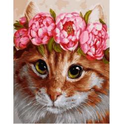 Кошечка в цветах, раскраска по номерам на холсте 40х50см 28цв Планета Картин