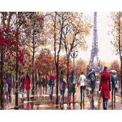 Осенний Париж, раскраска по номерам на холсте 40х50см 26цв Планета Картин