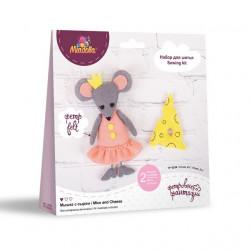 Мышка с сыром, набор для шитья из флиса и фетра 12см. Miadolla