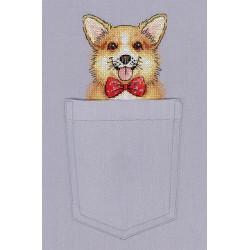 Рыжий джентльмен, набор для вышивания крестиком на одежде 9х8см 13цветов Жар-птица