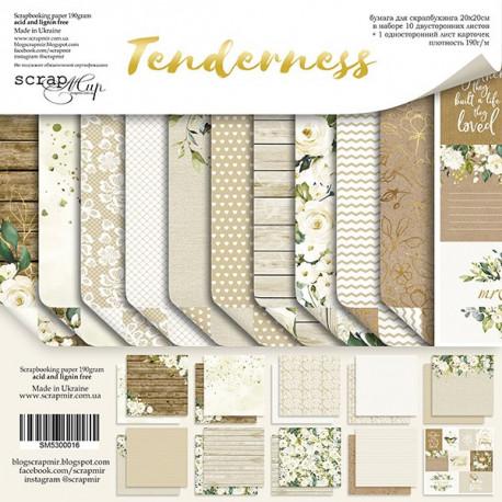 Tenderness, набор двусторонней бумаги 20х20см, 190гр/м, 11листов Scrapmir