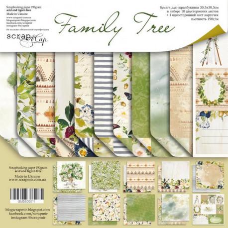 Family Tree, набор двусторонней бумаги 30х30см, 190гр/м, 11листов Scrapmir