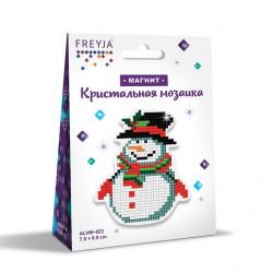 Снеговичок, кристальная мозаика магнит 7,5x9,5см, полное заполнение Фрея