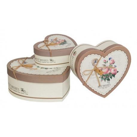 Коричневый с розами, в форме сердца коробка картонная малая с рисунком 16*16*5,5см