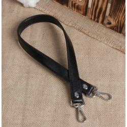 Чёрный, ручка для сумки кожзам с двумя карабинами 60х2см SL