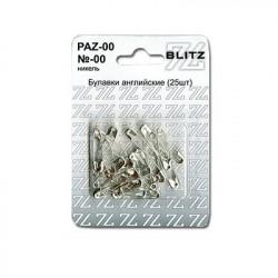 Булавки английские №00 под никель в блистере 25 шт, BLITZ