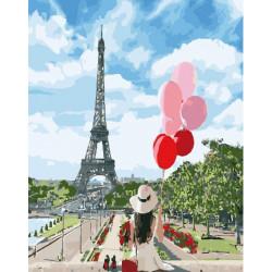 Под небом Парижа, раскраска по номерам на холсте 40х50см 29цв Планета Картин