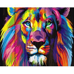 Радужный лев, раскраска по номерам на дереве 40х50см 19цв Планета Картин
