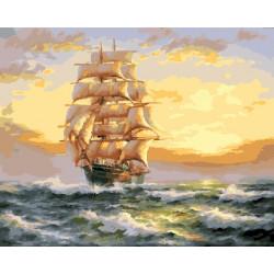 Парусный корабль, раскраска по номерам на холсте 40х50см 27цв Планета Картин