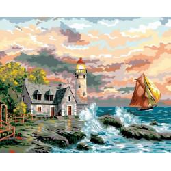 Маяк у моря, раскраска по номерам на холсте 40х50см 25цв Планета Картин