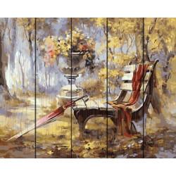 Осень, раскраска по номерам на дереве 40х50см 27цв Планета Картин