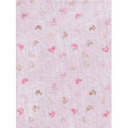 Розовый сердечки ассорти, дизайнерская канва №18, 21х30см. М.П.Студия