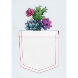 Кактус и суккуленты, набор для вышивания крестиком на одежде 8х8см 13цветов Жар-птица