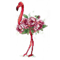 Фламинго, набор для вышивания крестиком на одежде 9х9см Жар-птица
