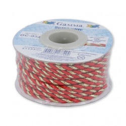 Красный/золото, шнур витой 3мм, 1м, Gamma