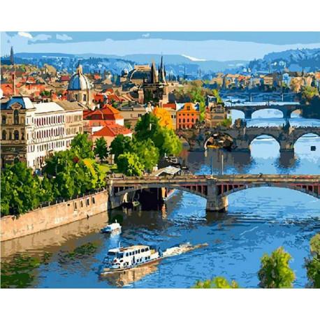 Мосты Праги, раскраска по номерам на холсте 40х50см 28цв Планета Картин