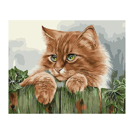 Рыжая кошка, раскраска по номерам на холсте 40х50см 23цв Планета Картин