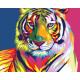 Радужный тигр, раскраска по номерам на холсте 40х50см 14цв Планета Картин