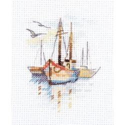 Лодки на рассвете, набор для вышивания крестиком, 6х9см, 13цветов Алиса