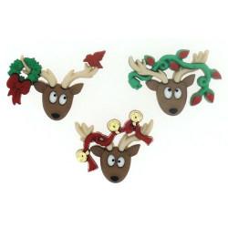 Новогодние олени, набор пуговиц 3шт Dress It Up