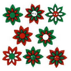 Рождественские цветы, набор пуговиц 8шт Dress It Up