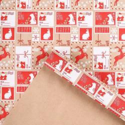 Новогодняя почта, бумага упаковочная крафт, 100х68см