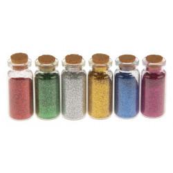 Хлопья-блеск, набор глиттера в стеклянных бутылочках с пробкой 6шт по 7гр