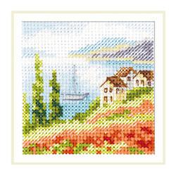 Маки у моря, набор для вышивания крестиком, 7х7см, 16цветов Алиса