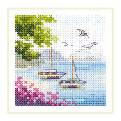 Вид на море, набор для вышивания крестиком, 7х7см, 16цветов Алиса