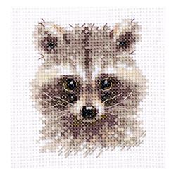 Енотик, набор для вышивания крестиком, 8х8см, 10цветов Алиса