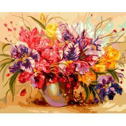 Разноцветие, раскраска по номерам на холсте 40х50см 30цв Планета Картин