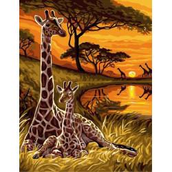 Африка, раскраска по номерам на холсте 30х40см 21цв Планета Картин