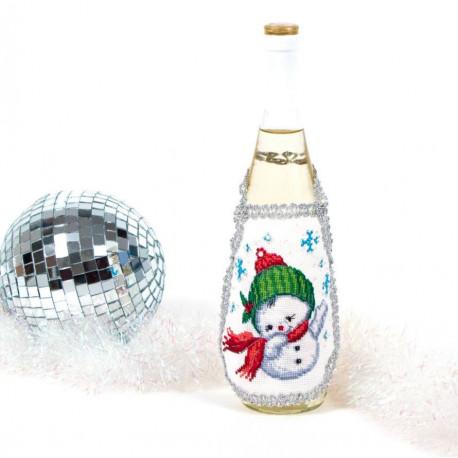 Снеговик (фартук на бутылку), набор для вышивки нитками и бисром 14х18см, 11+3цв. Матрёнин посад
