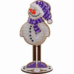 Снеговик, набор для вышивания бисером на перфорированной основе двп 8,5х18,5см 9цв ВС