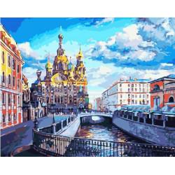 Любимый Петербург, раскраска по номерам на холсте 40х50см цв Планета Картин