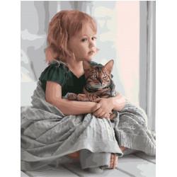 В обнимку с котом, раскраска по номерам на холсте 40х50см цв Планета Картин