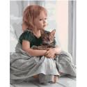В обнимку с котом, раскраска по номерам на холсте 40х50см 29цв Планета Картин