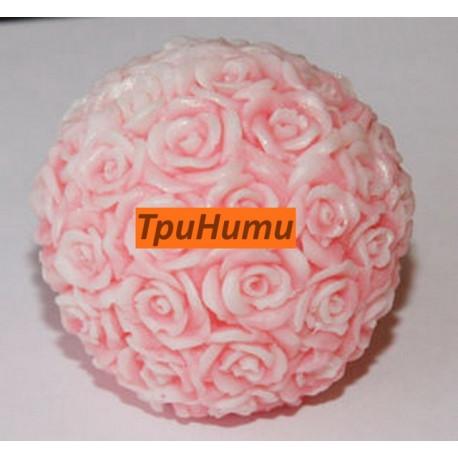 Шар из роз большой S, 3D силиконовая форма для мыла 60х75мм