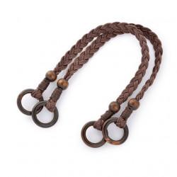 Коричневый, ручки для сумки вощеный шнур/дерево 48см