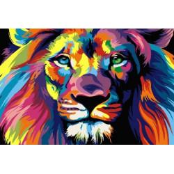 Радужный лев ДУБЛЬ, раскраска по номерам на холсте 20х30см 17цв Планета Картин