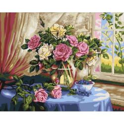 Розы и черника, раскраска по номерам на холсте 40х50см 21цв Планета Картин