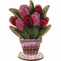 Тюльпаны в горшке, набор для вышивания бисером на перфорированной основе двп 11х15см 11цв ВС