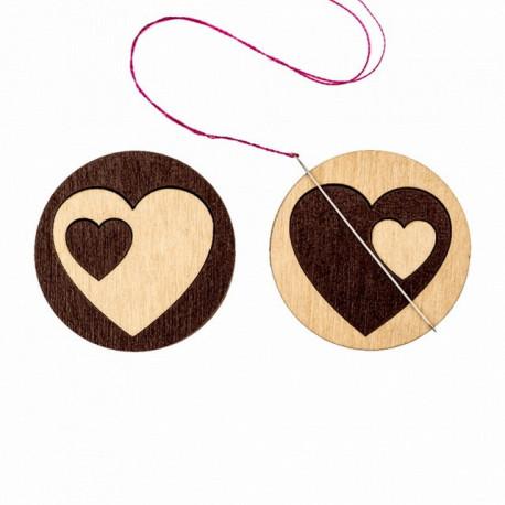 Два сердца, двусторонний магнитный держатель для игл фанера 3,5см ВС