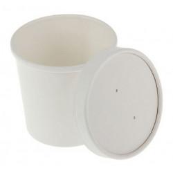 Белый, бумажный стакан с крышкой, 7х7х8,5см