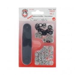 Кнопки рубашечные Baby с установщиком цв.черный, 9,7мм, 15шт